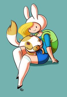 This is Fiona and Cake the Cat! She is a part of Adventure Time's alternative universe where the characters swap genders. Like their male counterpart, Jake the Dog and Finn the Human, Fiona and Cake are a young and playful pair of civic defenders in the Candy Kingdom. Although the duo are very sweet and content, they waste no time rushing to battle when their friends are in danger.