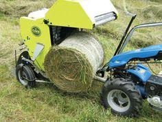 The CAEB mini round baler makes a nice round bale of hay.