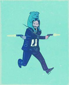 Amazing John Wick Poster For Keanu Reeves Fans! John Wick Film, Illustrations, Illustration Art, Keanu Reeves John Wick, Fan Art, Really Funny Memes, Caricatures, Character Art, Cool Art
