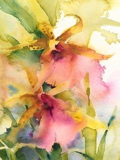 Leopard Orchids, watercolor by Kate Osborne Watercolor Pictures, Watercolor Artists, Abstract Watercolor, Watercolor And Ink, Watercolor Flowers, Art Aquarelle, Flower Art, Kate Osborne, Illustrations