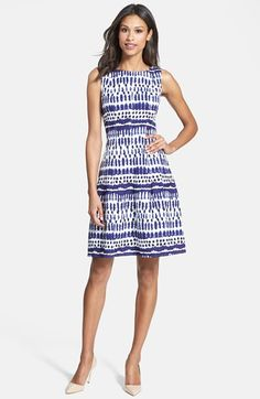 2ca3f1e75557 Ivanka Trump Print Linen Blend Fit  amp  Flare Dress available at  Nordstrom  Casual Wedding