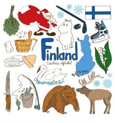 Illustration of Fun colorful sketch collection of Finland icons, countries alphabet vector art, clipart and stock vectors. Flags Of European Countries, Countries And Flags, Countries Of The World, World Cultures, Geography For Kids, Teaching Geography, World Geography, Science For Kids, Activities For Kids