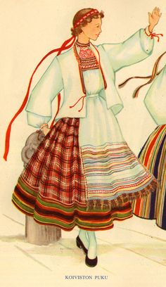 Koivisto (Lost to the Soviet Union in WWII, today's Primorsk) National costume & embroidery: Rekko costumes of the Karelian Isthmus and Ingria, former regions of South-Eastern Finland Spanish Costume, Mexican Costume, Folk Costume, Costumes, Textiles, Soviet Union, Traditional Dresses, Spirit Animal, Folklore