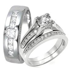 3 Piece HIS HERS Engagement Wedding Ring SET    This auction is for a MENS/WOMENS Engagement Wedding Band Ring Set. It consists of 3 PIECES: