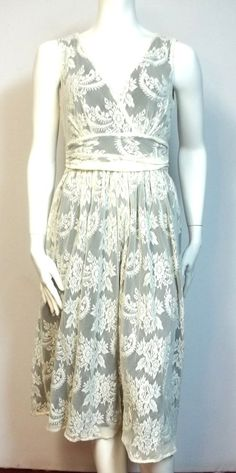 Newport News tea dress Ivory lace 14 14P plus size Misses petites New nylon #NewportNews #StretchBodycon #Cocktail
