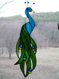 Stained glass peacock by ShinyStuffGlass on Etsy