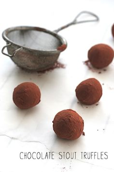 Irish Themed Date Night:  Chocolate Stout Truffles 250 ml (1 cup) stout 200 g (7 oz) dark chocolate, chopped or broken into pieces 100 ml (3.5 fl oz) double cream a few tablespoons of cocoa powder, to dust (or crushed pretzels; see note above)