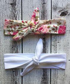 Look what I found on #zulily! Ella's Bows Pink Floral Tie & White Tie Headband Set by Ella's Bows #zulilyfinds