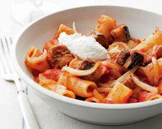 Pasta Alla Norma - Eggplant Cubes, Cheese & Pomodoro Sauce.  A hearty meatless pasta main dish.