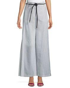 Side-Slit Wide-Leg Striped Pants w/ Rope Belt