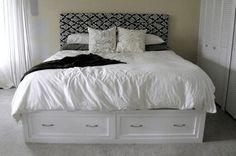 13 Free DIY Bed Plans for Adults and Children: Free Queen Sized Storage Bed Plan at Ana-White.com