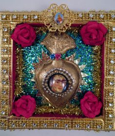 Frida Kahlo Sacred Heart Shadow Box Shrine by SacredYoliDesigns, $40.00