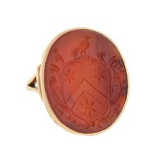 A. Brandt + Son - Victorian 14kt & Carnelian Family Crest Intaglio Signet Ring