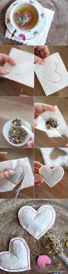 homemade heart-shaped tea bags