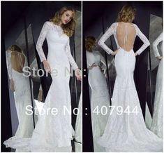 Free shipping 2013 NEW arrival white vintage lace long sleeves open back/backless see through sexy mermaid wedding dress  $154.89 - 164.89