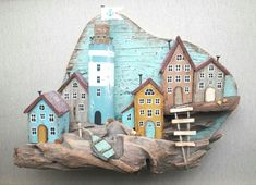 Anna Zhmak Etsy: MareckayaArt Source by The post Anna Zhmak Etsy: MareckayaArt appeared first on Wooden. Pottery Houses, Ceramic Houses, Wooden Houses, Driftwood Sculpture, Driftwood Art, Driftwood Projects, Wood Creations, Wooden Art, Rock Crafts
