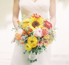 farm bouquet with sunflowers