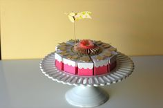 Pink Lemonade Paper Cake ~ put individual desserts, treats, party favors in each wedge(box).