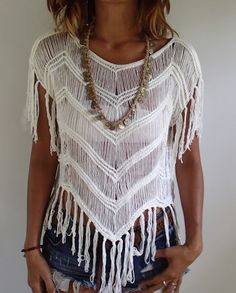 White V Fringed Summer Top. Very Soft and Comfortable. от PadMa88
