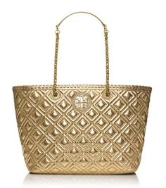 Tory Burch MARION QUILTED METALLIC SMALL TOTE