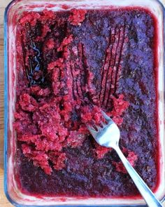 Raspberry & Red Wine Granita, an icy-cold raspberry slushee for grown-ups. Just three ingredients, no ice cream maker, just a freezer and a fork.