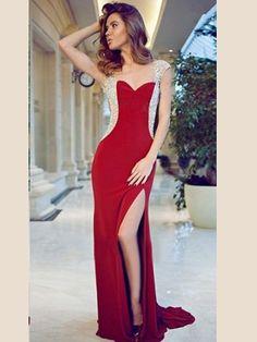sequin prom dresses, Sheath/Column Sweetheart Floor-length Chiffon Prom Dress/Evening Dress #MK086