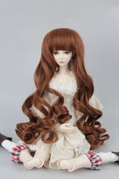 "1//4 7-8/"" BJD Doll Wig Auburn Golden Brown Curls Hair Medium Long Elegant Retro R"