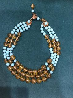 MIRIAM Haskell signed Josef Morton Triple Stand Large Glass Beads