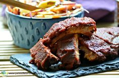 Paleo Barbecue Ribs are perfect for sharing with family and friends. Perfect with homemade coleslaw and sweet potato fries. Yum!