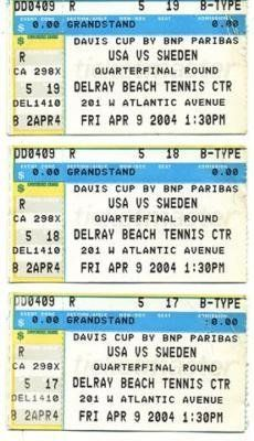 Three 4/9/2004 Davis Cup USA vs Sweden Tennis Tickets . $15.00. 3 (THREE) 4/9/2004 DAVIS CUP USA VS SWEDEN TENNIS TOURNAMENT TICKET STUBS.    CLICK ON PHOTOS FOR CLEARER AND LARGER IMAGES. GREAT, AUTHENTIC TENNIS COLLECTIBLE!!! ITEM PICTURED IS ACTUAL ITEM BUYER WILL RECEIVE.