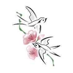 Tatuaggio di Rondini e fiori, Rinascita tattoo - TattooTribes.com