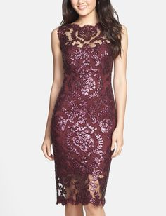 This plum sequin illusion lace dress will be perfect for the next event or party.