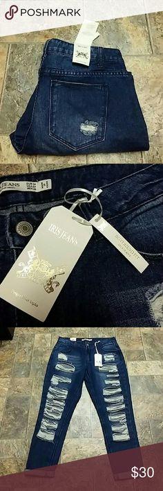 """NWT Iris Destroyed Boyfriend Jeans size 7 NWT Iris Destroyed Boyfriend Jeans size 7, inseam unrolled 28. Rise 10"""",  waist laid flat 16"""". Brand new. Iris Jeans Jeans Boyfriend"""