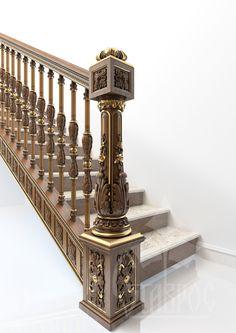 """Резная деревянная лестница с использованием декора компании """"Ставрос"""""""