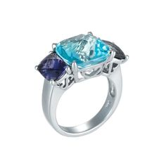 14K White Gold Ring with Blue Topaz & Iolite