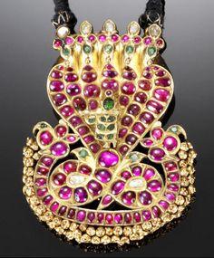 A ruby, emerald and diamond-set gold Braid Ornament (nagar) South India, 18th century