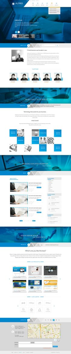 corporate web design with an edgy twist - great use of blues
