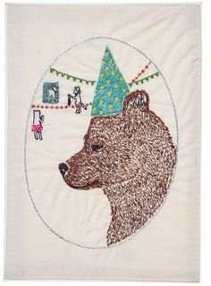 coral & tusk  birthday party bear embroidered stationery