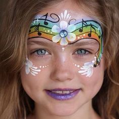 Face Painting Images, Girl Face Painting, Face Painting Tips, Face Painting Designs, Painting For Kids, Face Paintings, Rainbow Face Paint, Polymer Clay Ornaments, Kids Makeup