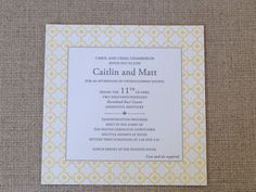 #letterpress Wedding Invitation With A Fresh #yellow Border. Available At  On Paper Columbus. Letterpress Wedding InvitationsColumbus Ohio