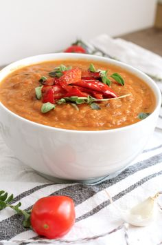 Delicious roasted tomato soup, so quick and easy to make. Tastes amazing, whilst being dairy free and really healthy. Perfect for winter and summer days.
