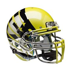 Schutt NCAA Oregon Ducks ALTERNATE YELLOW LIQUID METAL with Wings Full Size AiR XP Authentic Football Helmet
