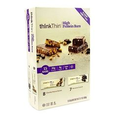Think Thin High Protein Bar Variety Pack 8 Chunky Peanut butter 7 Brownie Crunch 1 Pack 15 Count Total -- Visit the image link more details. (This is an affiliate link) Healthy Protein Bars, Pure Protein, Chunky Peanut Butter, Creamy Peanut Butter, Protein Bar Brands, Think Thin, Gram Of Sugar, Nutrition Bars