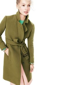 NOV '15 Style Guide: J.Crew women's double-cloth belted trench coat, Collection Italian cashmere relaxed pullover sweater, Collection A-line midi skirt and Lucite-and-crystal bracelet.