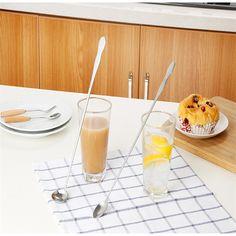 Durable Stainless Steel Long Handle Tea Spoon Coffee Spoon Mixing Spoon Bar Spoon Bar Spoon, Stainless Steel Cutlery, Coffee Spoon, Handle, Tea, Tableware, Dinnerware, Tablewares, Dishes