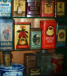 Vintage Cocoa Containers Poster by Turtle Caps Vintage Tins, Retro Vintage, Containers For Sale, Coffee Poster, Container Design, Metal Tins, Coffee Cans, Fine Art America, Cocoa