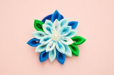 Handmade Blue and White Clip with Kanzashi Flower by olynatta