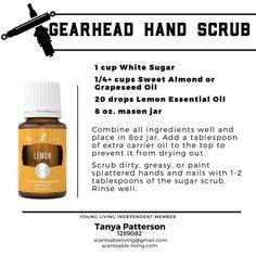 Essential Oils for Men! Lemon is great at removing grease and oil, so make your man his own hand scrub using sugar, almond oil, and Lemon essential oil. Essential Oil For Men, Oils For Men, Essential Oil Safety, Lemon Essential Oils, Young Living Essential Oils, Hand Scrub, Pure Oils, Young Living Oils, Hacks
