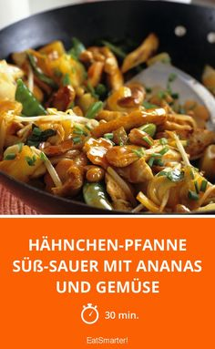Chicken pan sweet and sour with pineapple and vegetables- Hähnchen-Pfanne süß-sauer mit Ananas und Gemüse Chicken pan sweet and sour with pineapple and vegetables – smarter – time: 30 min. Sausage Recipes, Turkey Recipes, Casserole Recipes, Chicken Recipes, Healthy Salmon Recipes, Asian Recipes, Ethnic Recipes, Sweet N Sour Chicken, Spaghetti Recipes