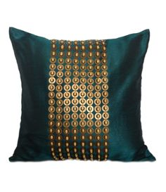 Teal Throw Pillow with Gold Sequin and  Wood beads Embroidery, 18x18 inch accent pillow, Beaded Pillow Cover, Couch Pillow case, home décor by TheWhitePetalsDecor on Etsy https://www.etsy.com/listing/198130033/teal-throw-pillow-with-gold-sequin-and